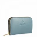 Leather Zip Wallet for women in Cyan color