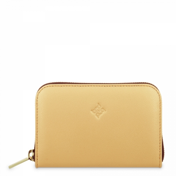 Leather Zip Wallet for women in Gold color