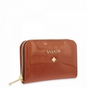 Leather Zip Wallet for women in Tan Leather color