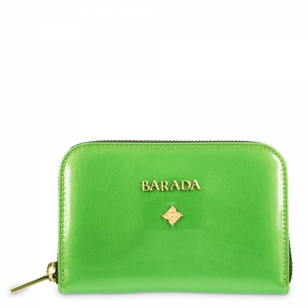Leather Zip Wallet for women in Green color