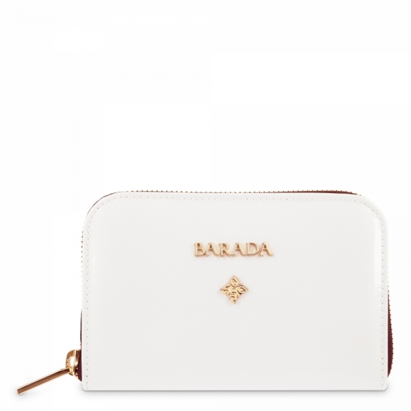 Leather Zip Wallet for women in White color