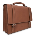 Barada Double Gusset Soft Briefcase in Tan colour