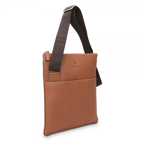 Barada Men's Flat Crossover bag in Tan colour