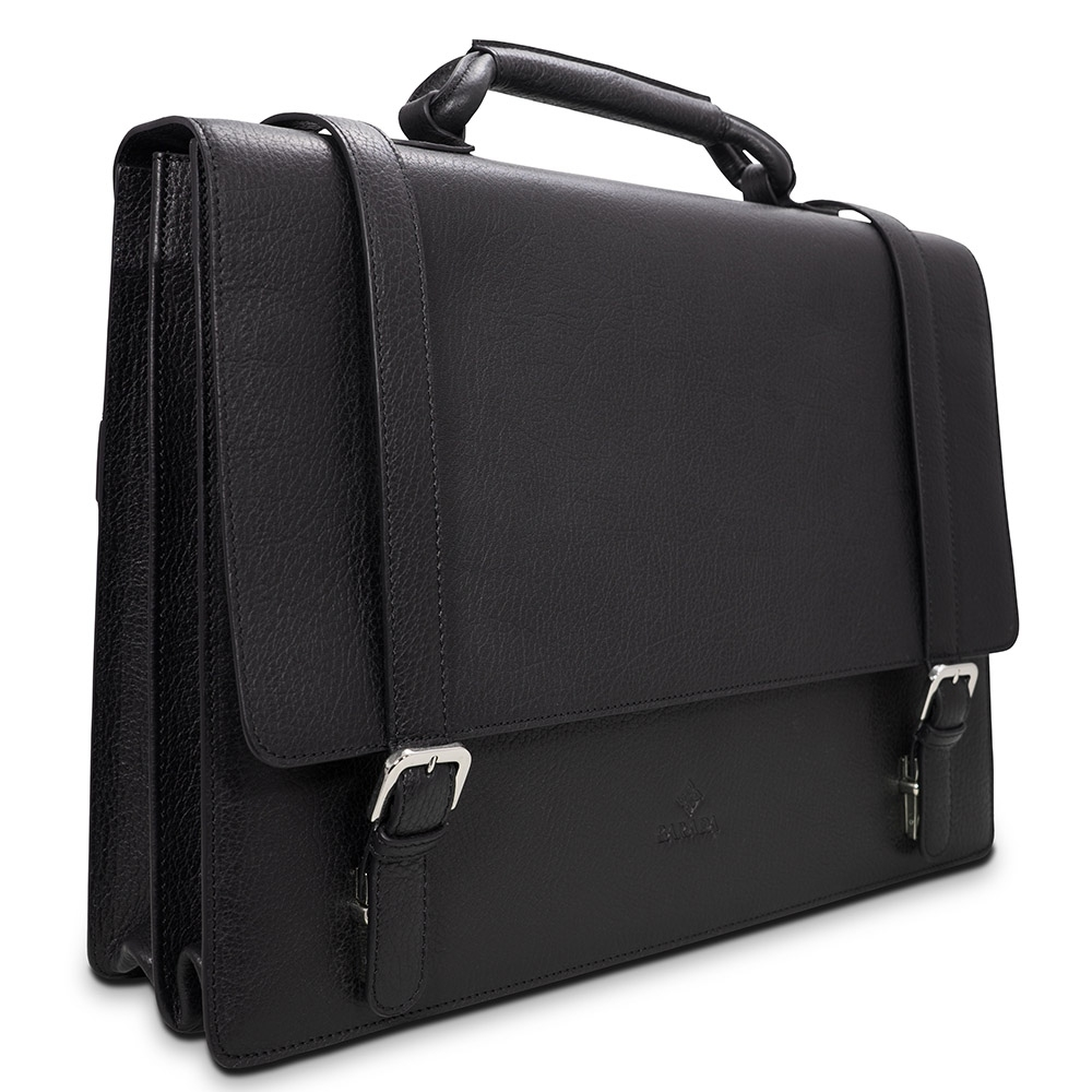 Barada Double Gusset Soft Briefcase in Black colour