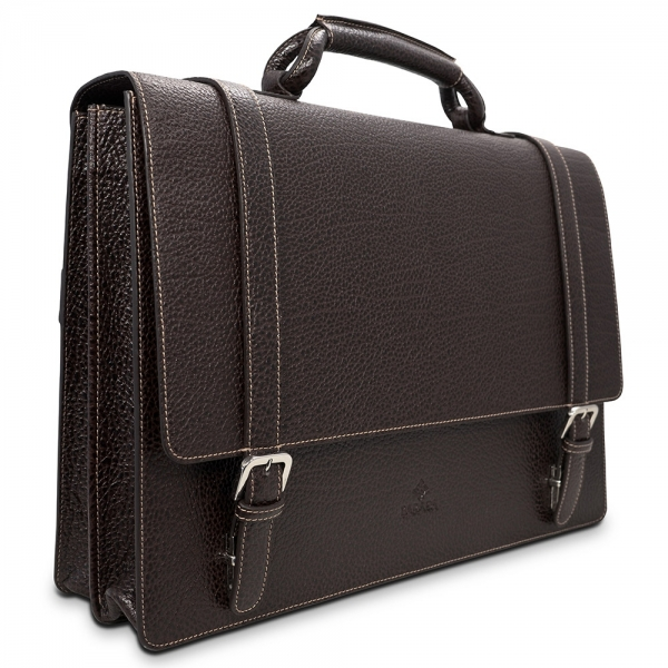 Barada Double Gusset Soft Briefcase in Brown colour