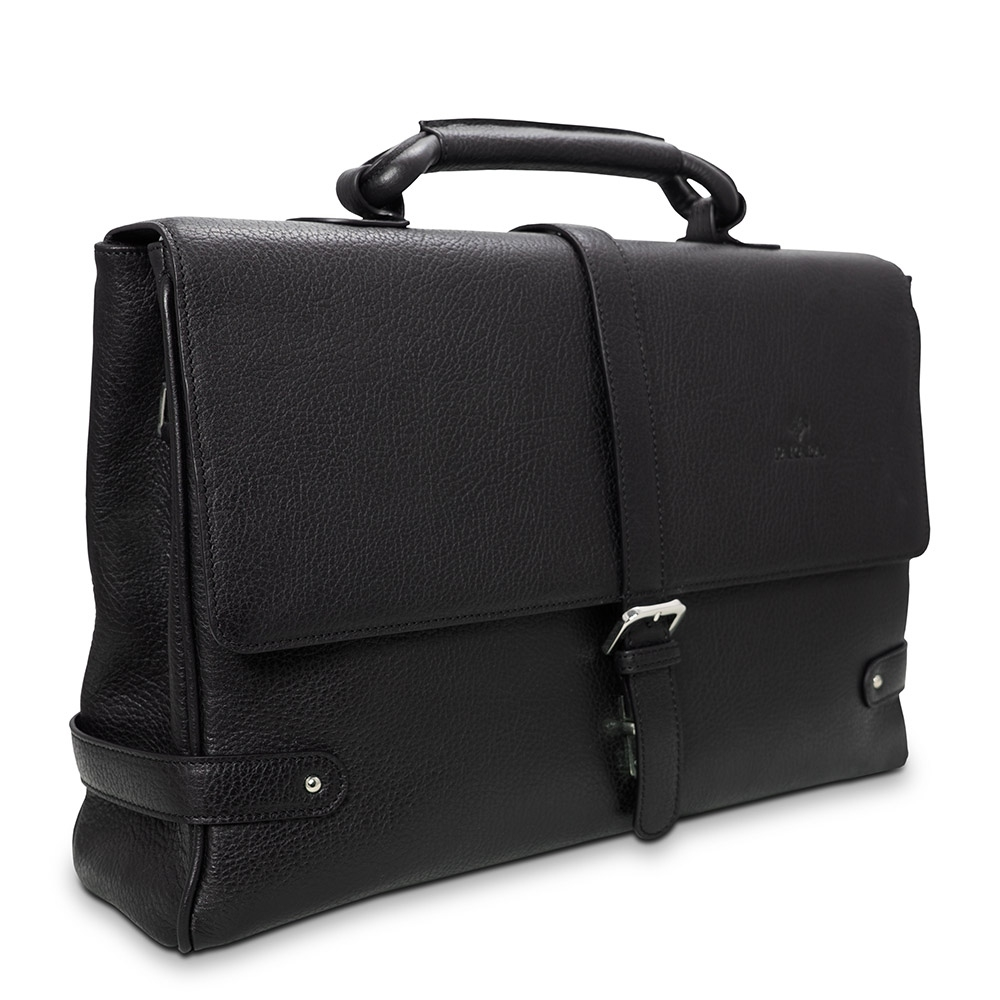 Barada Men's Single Gusset Soft Briefcase in Black Colour