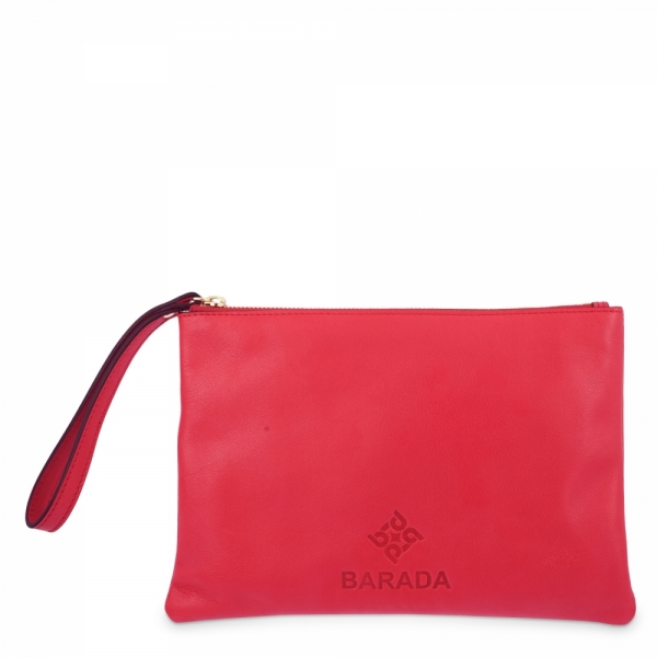 Leather Zip Pouch in Red color