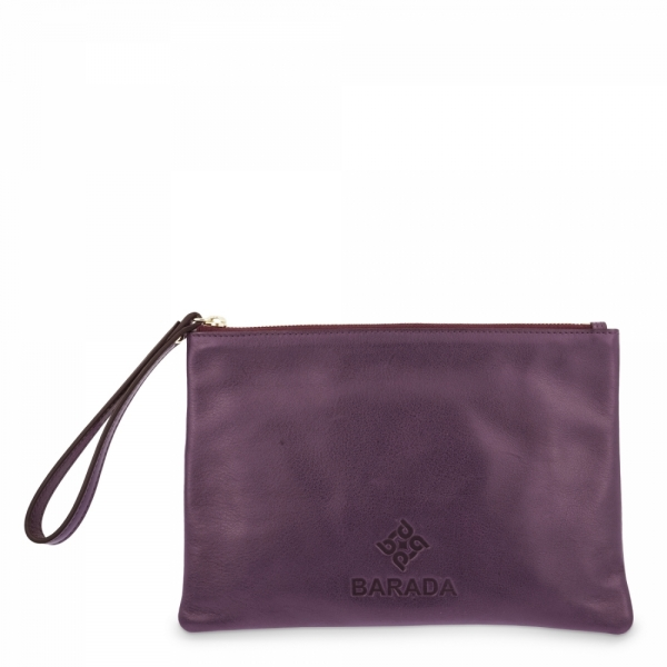 Leather Zip Pouch in Pourple color