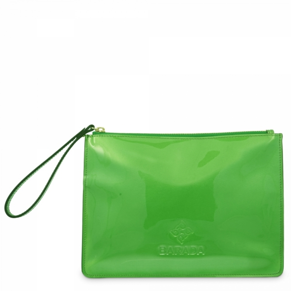 Leather Zip Pouch in Green color