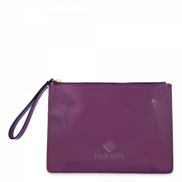 Leather Zip Pouch in Dark Purple color