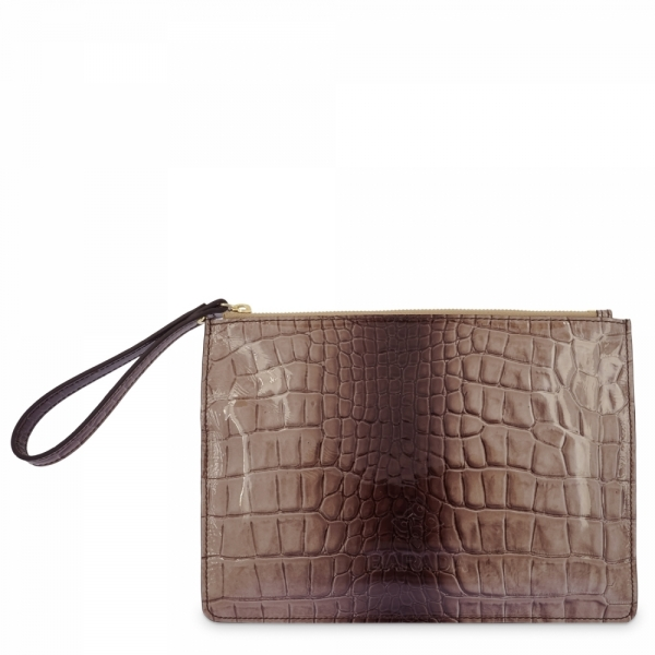 Leather Zip Pouch in Taupe color