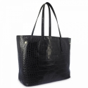 Bolso Shopping en piel Vacuno efecto coco y color negro