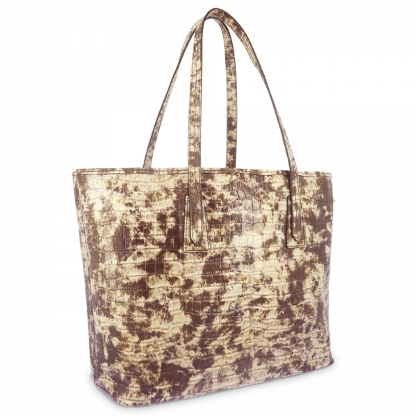 Bolso Shopping in Vacuno efecto coco and beige color