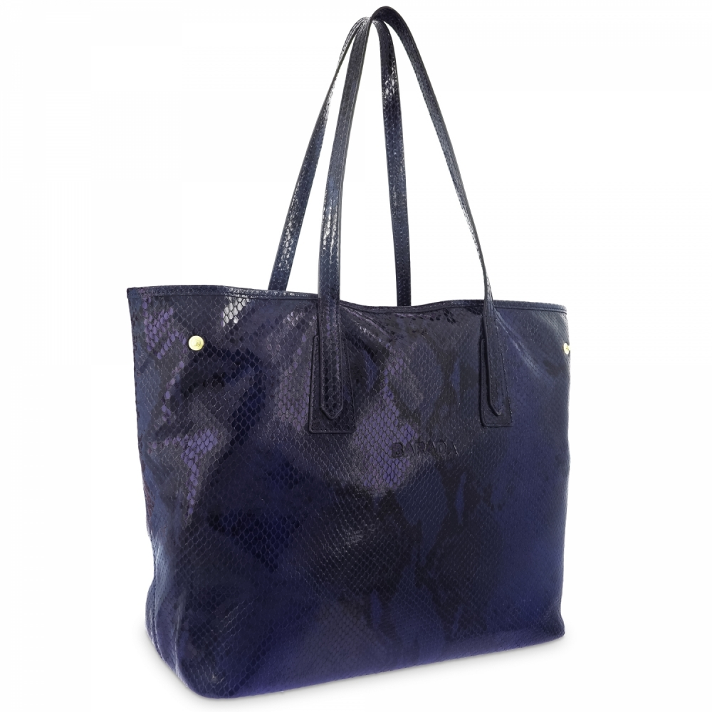 Shopping bag in leather snake print and Blue color