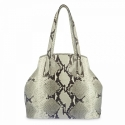 Shopping bag in leather snake print and Natural color