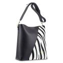 Shoulder Bag in Cow Leather in Black and Zebra print color.