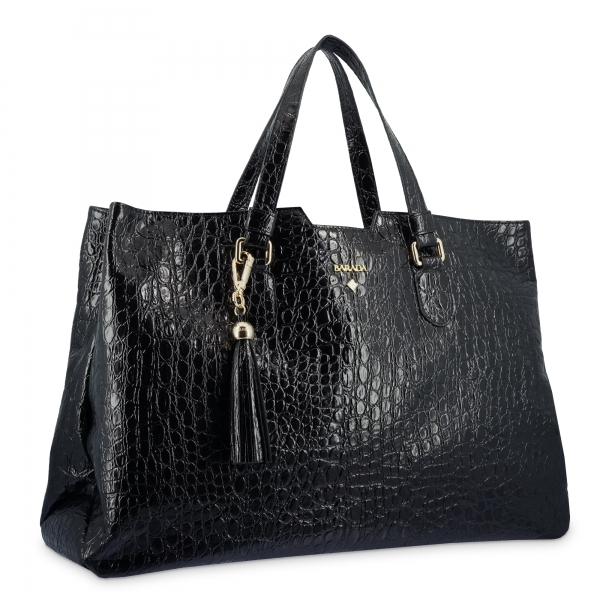 Shopping Bag in Cow Leather and Black color