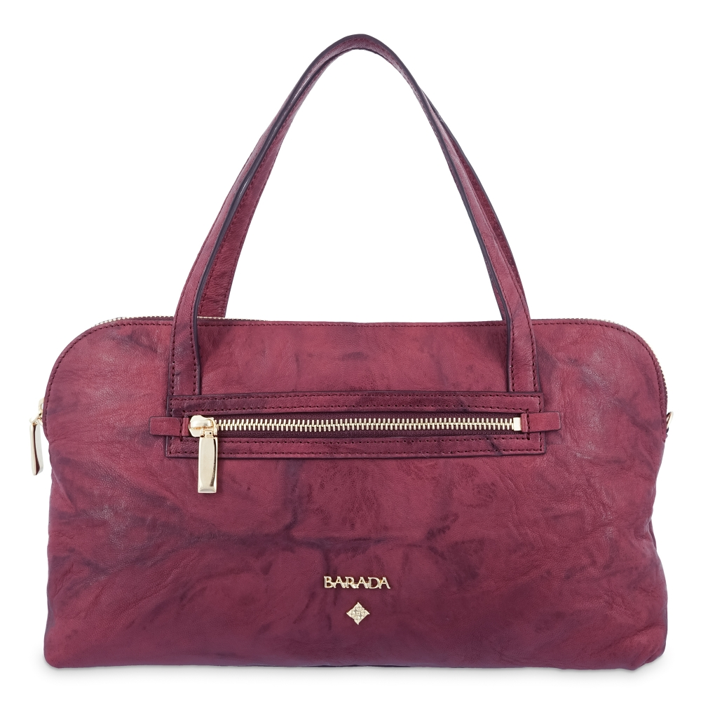 Top Handle Bag in cow leather and burgundy colour