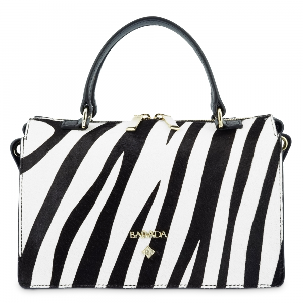 Top Handbag Style 344 in Cow leather and White and Black (Zebra)
