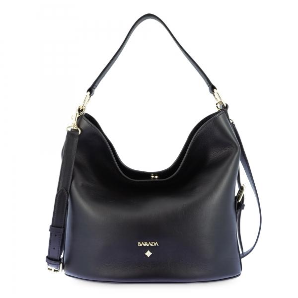 Leather Hobo Bag in Black color