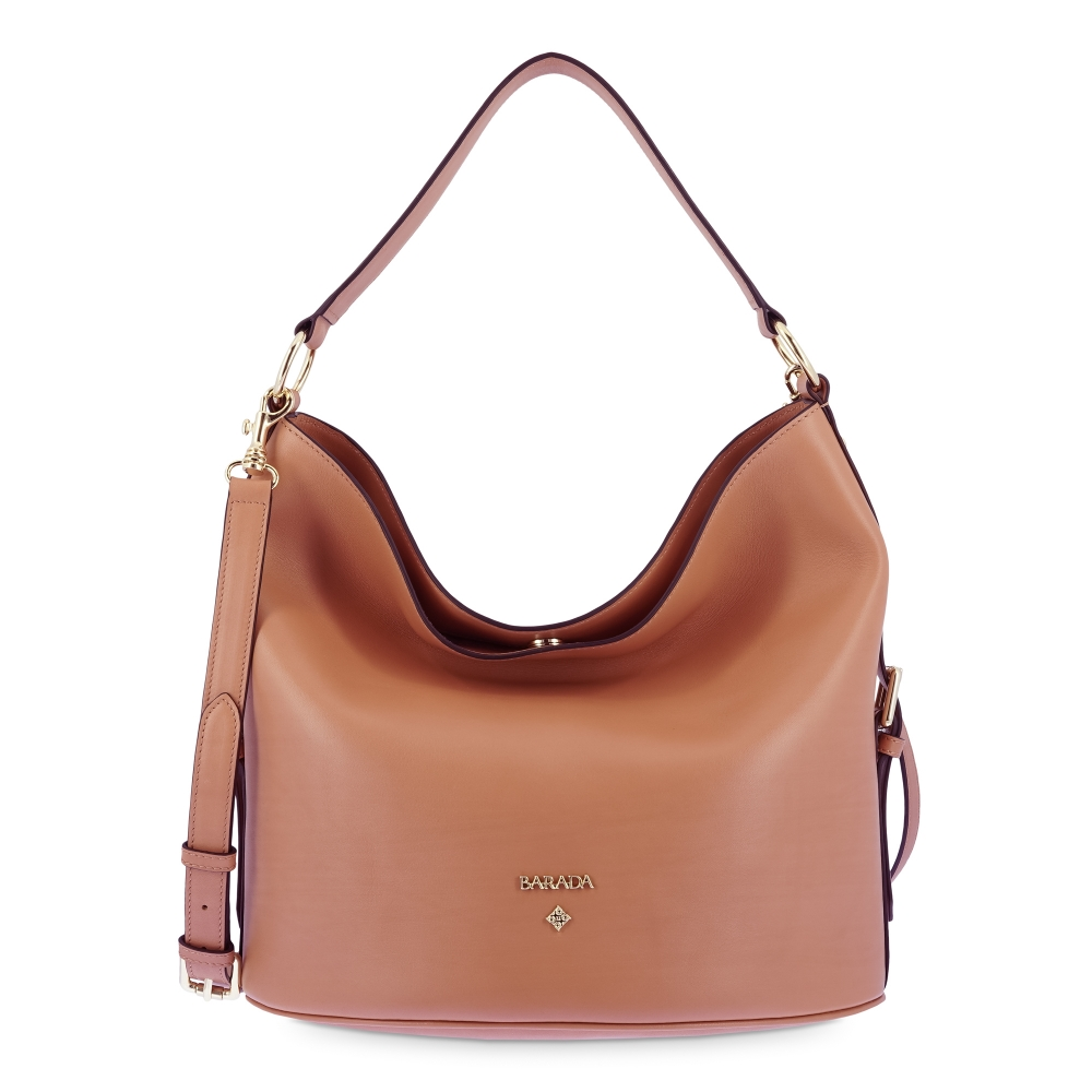 Leather Hobo Bag in Tan color
