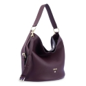 Leather Hobo Bag in Bordeaux color