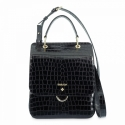 Top Handle HandBag in Cow Leather (Animal Print) and Black color