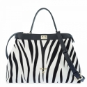 Top Handle HandBag in Cow Leather and Black & White (Zebra) color