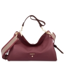 Hobo Bag in Cow Leather and Bordeaux & Black color