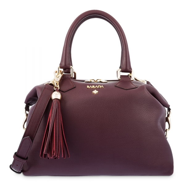 Bowling Bag in Cow Leather and Bordeaux color