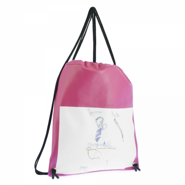 Backpack in Cow Leather and Fuchsia color