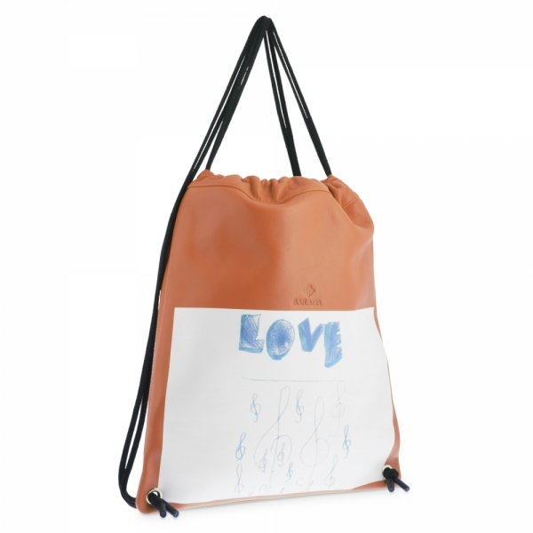 Backpack in Cow Leather and Orange color