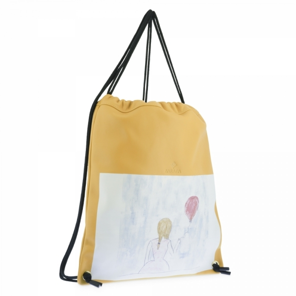 Backpack in Cow Leather and Yellow color