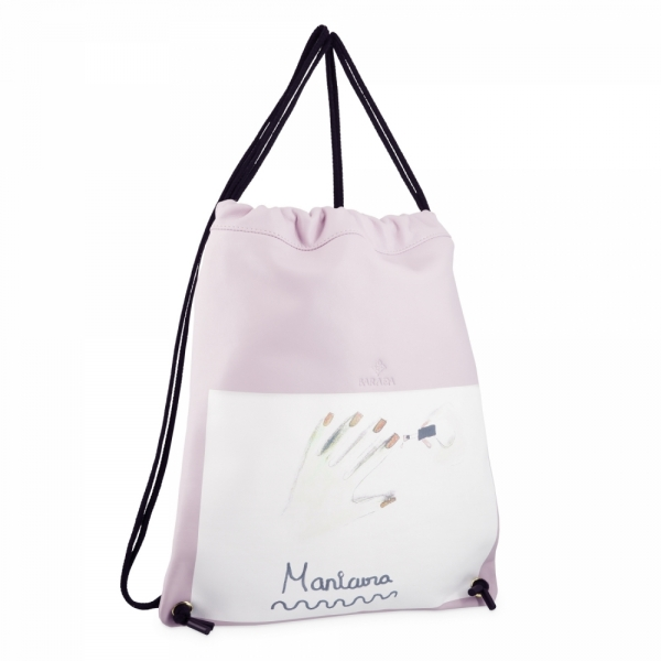 Backpack in Cow Leather and Pink color