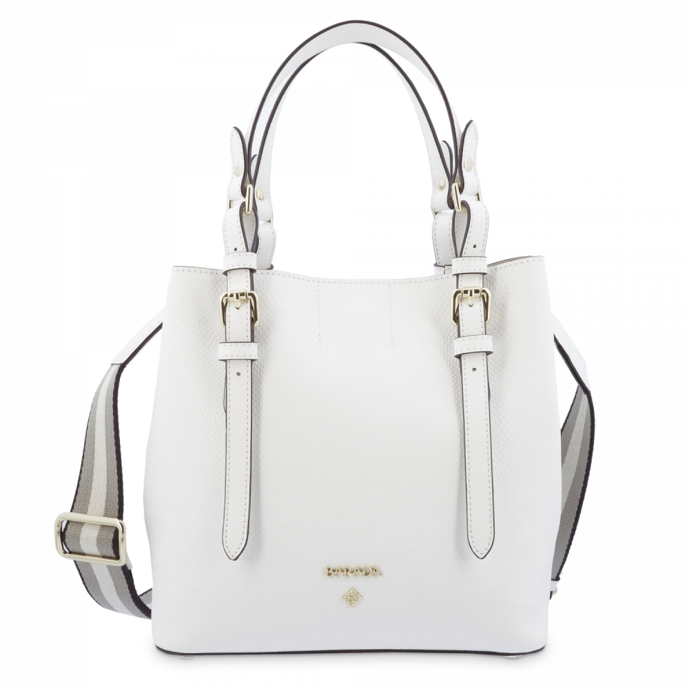 Top Handle Handbag in Cow Leather and White color