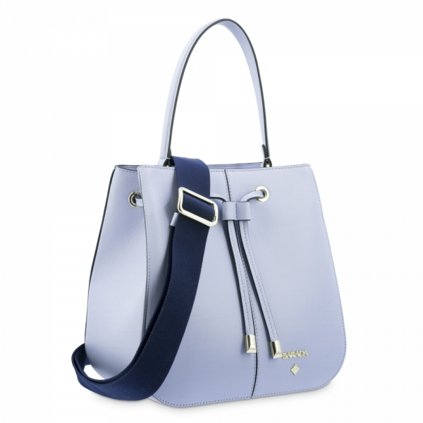 Top Handle Handbag in Cow Leather and Cyan color