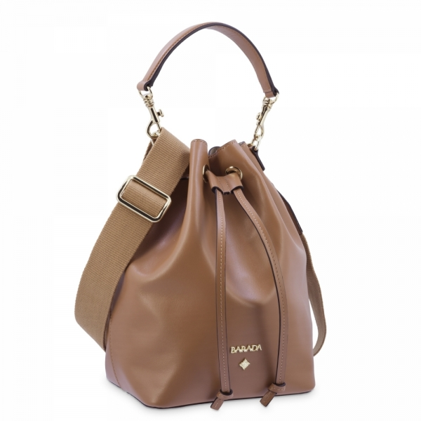 Top Handle Handbag in Cow Leather and Tan color