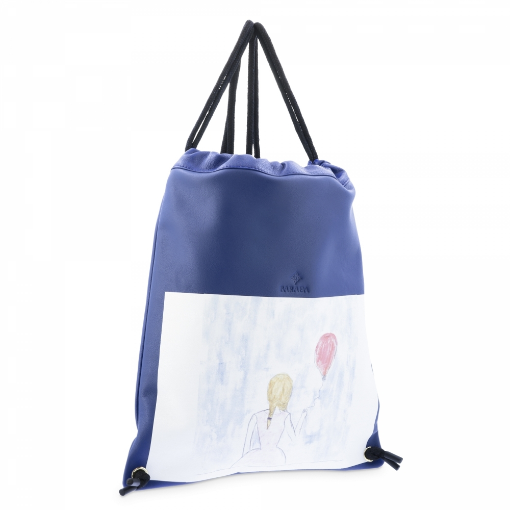 Backpack in Cow Leather and Blue color