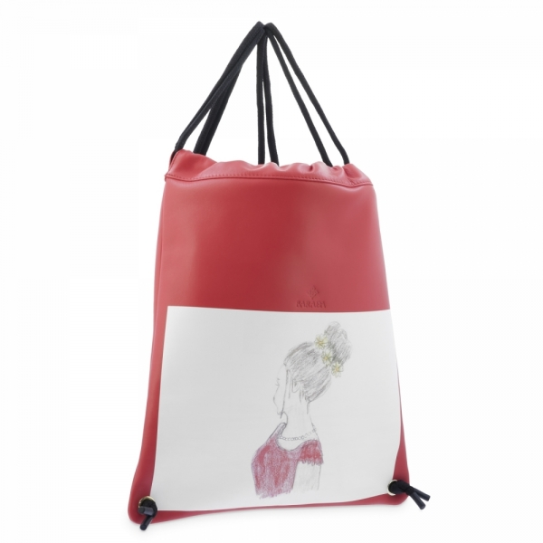 Backpack in Cow Leather and Red color