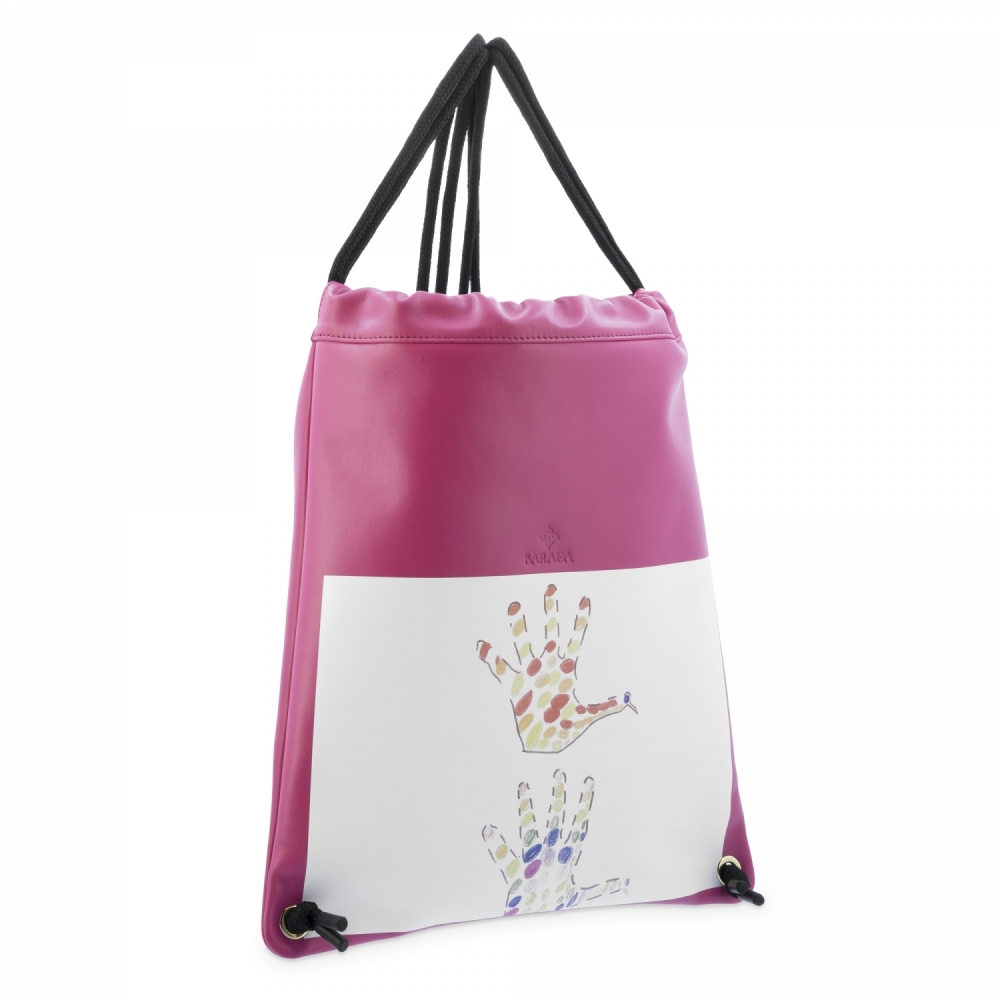 Backpack in Cow Leather and Fucsia color
