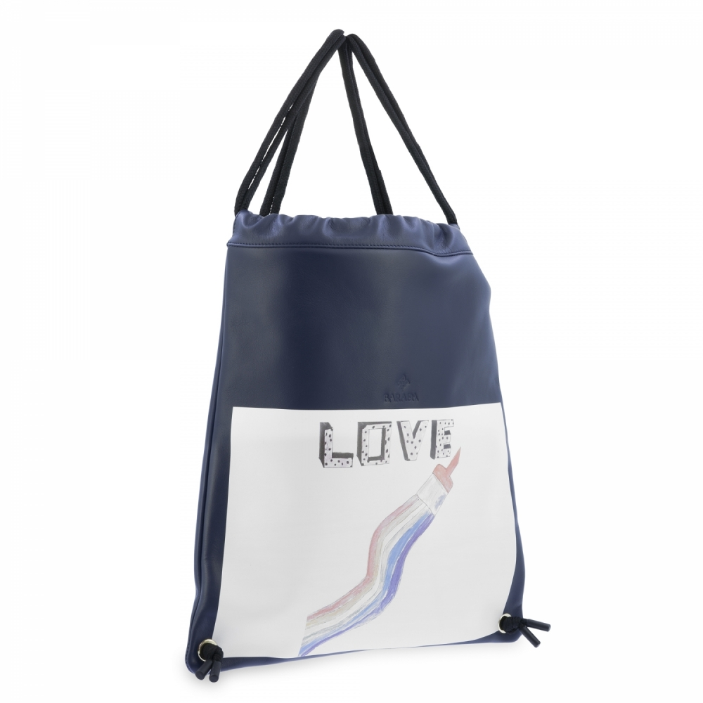Backpack in Cow Leather and Dark Blue color