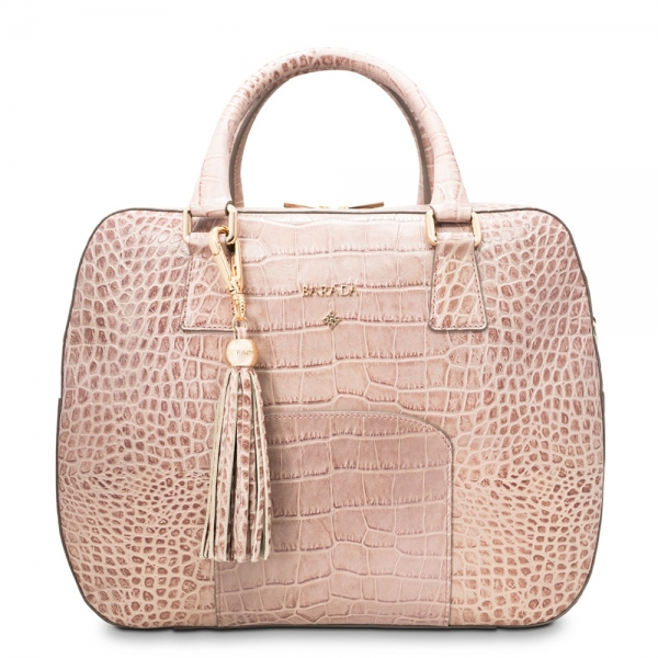 Double-handle handbag from our Morgana collection in Calf Leather (croc print)