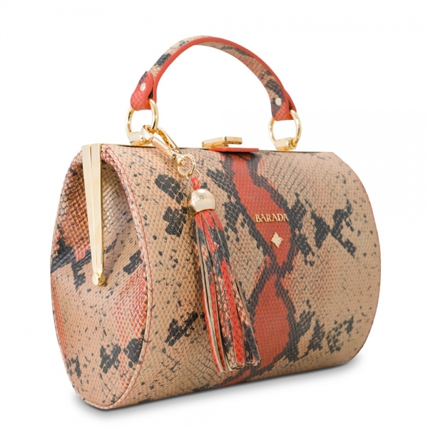 Bowling bag from our Atenea collection in Calf Leather (snake print)