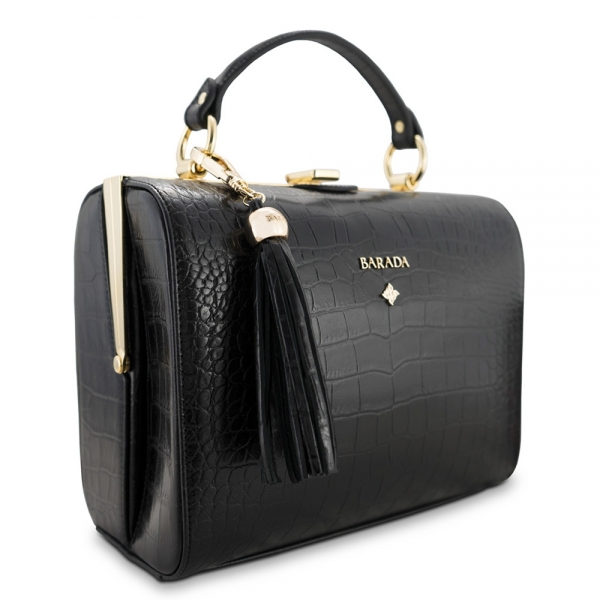Bowling bag from our Atenea collection in Calf Leather (croc print)