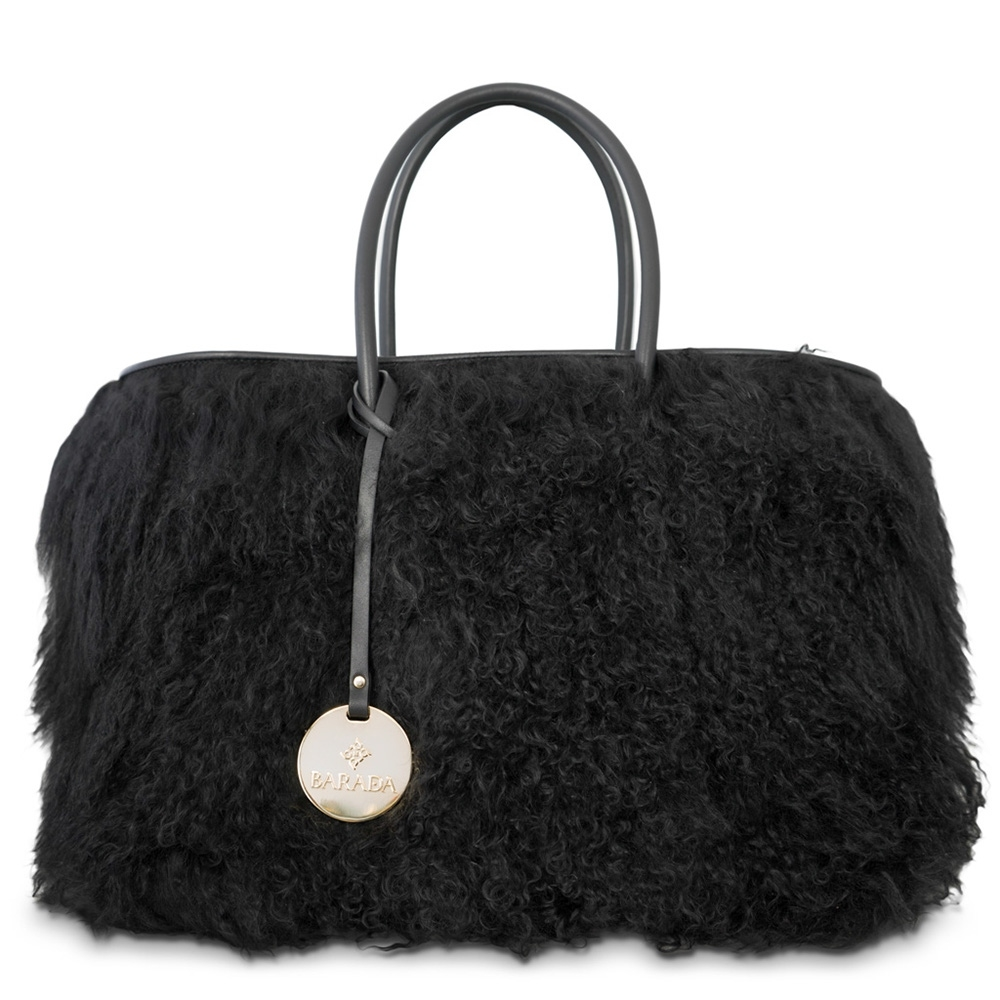 Double-handle shopping handbag from our Nefeles collection in Goat of Mongolia hair Leather