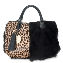 Double handle bag from our Fiona collection in Calf Leather (leopard print) and sheep Leather