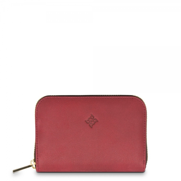 Zip around Wallet in Calf Leather (Nubuck finish), Burgundy colour