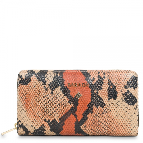Large Zip Around Wallet in Calf Leather (Snake print), Orange colour
