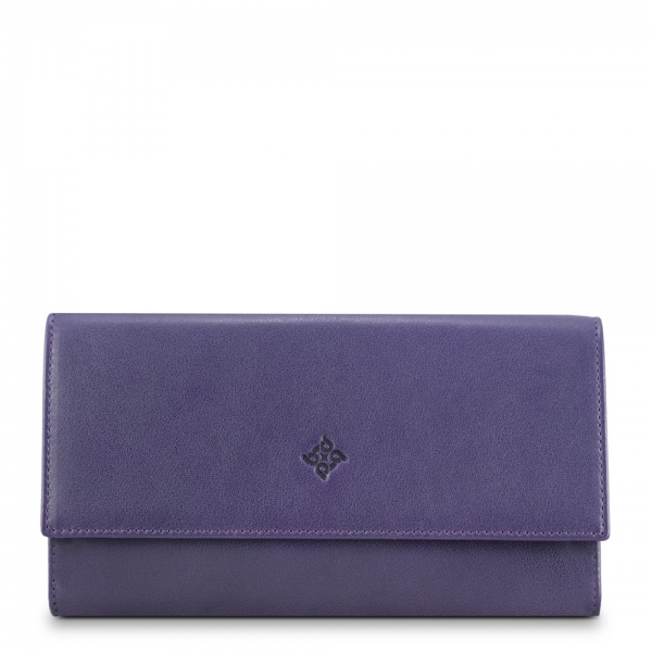 Flap Over Wallet in Calf Leather (Antelope finish), Purple colour