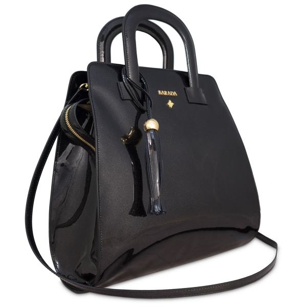 Trapezoid handbag from our Faye collection in Calf Leather (Metallic Patent)